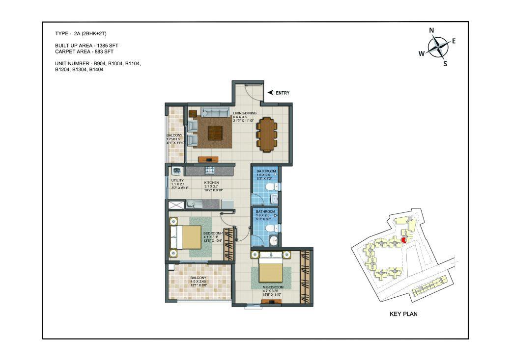 2 BHK Apartments Floor Plan (Unit No B904, B1004, B1104, B1204, B1304, B1404) - Casagrand ECR 14
