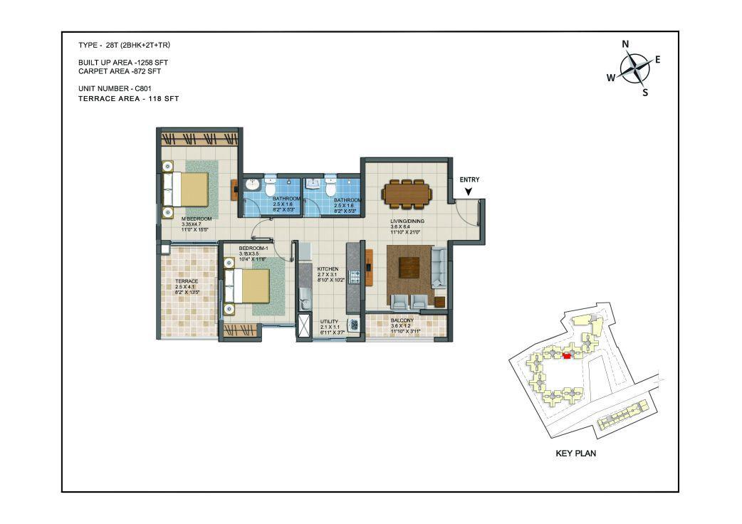 2 BHK Apartments Floor Plan (Unit No C801) - Casagrand ECR 14