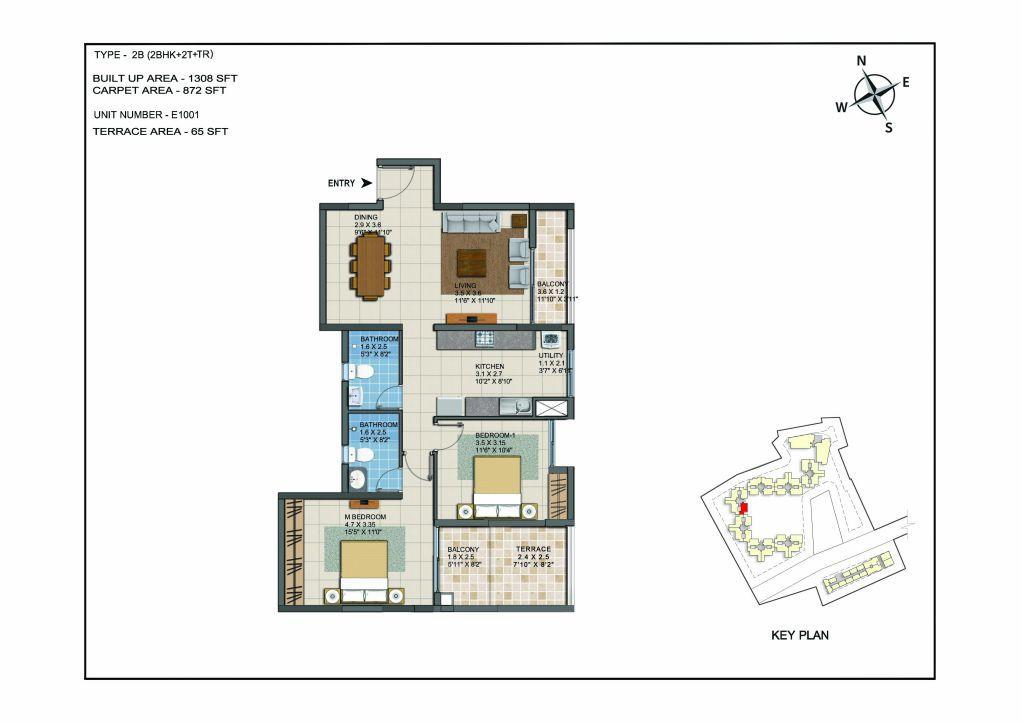 2 BHK Apartments Floor Plan (Unit No E1001) - Casagrand ECR 14