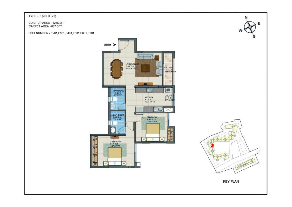 2 BHK Apartments Floor Plan (Unit No E201, E301, E401, E501, E601, E701) - Casagrand ECR 14