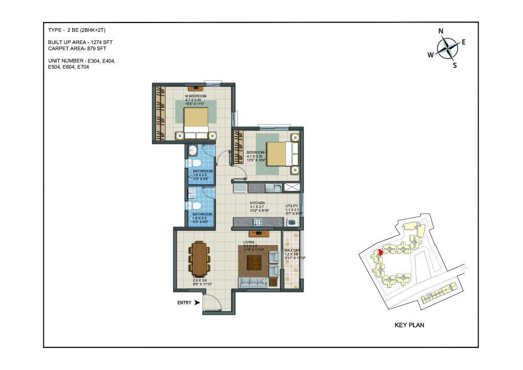 2 BHK Apartments Floor Plan (Unit No E304, E404, E504, E604, E704) - Casagrand ECR 14