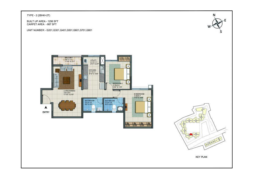 2 BHK Apartments Floor Plan (Unit No G201, G301, G401, G501, G601, G701, G801) - Casagrand ECR 14