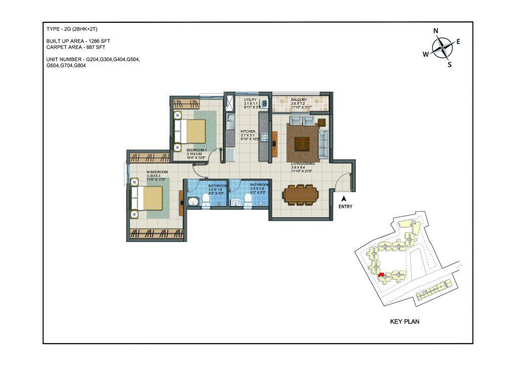 2 BHK Apartments Floor Plan (Unit No G204, G304, G404, G504, G604,G704, G804) - Casagrand ECR 14