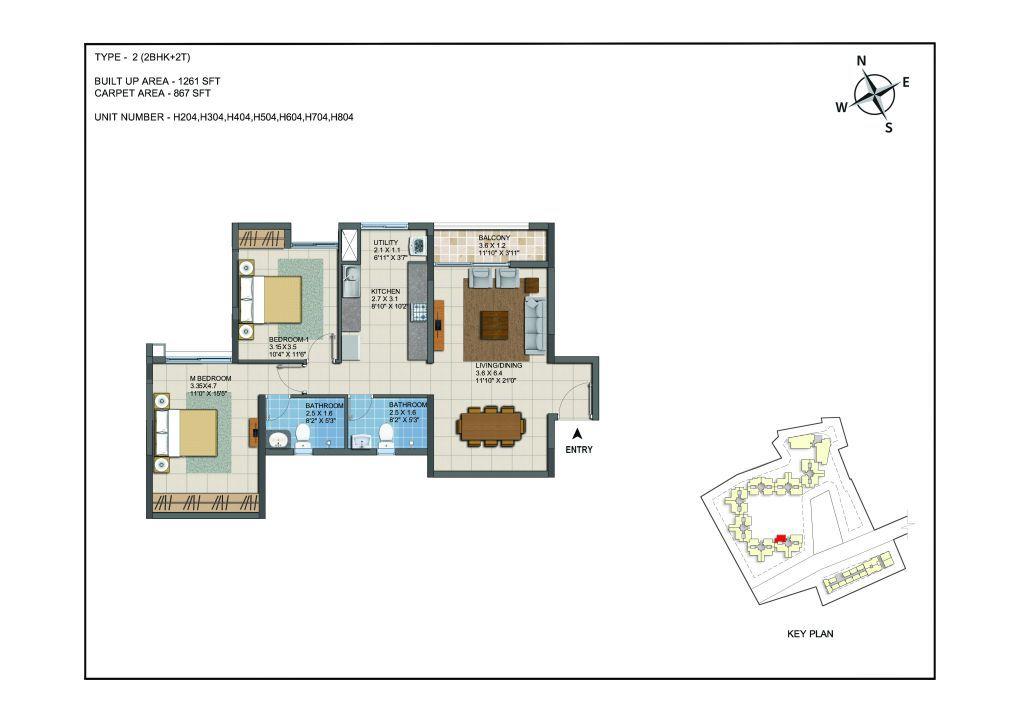 2 BHK Apartments Floor Plan (Unit No H204, H304, H404, H504, H604, H704, H804) - Casagrand ECR 14
