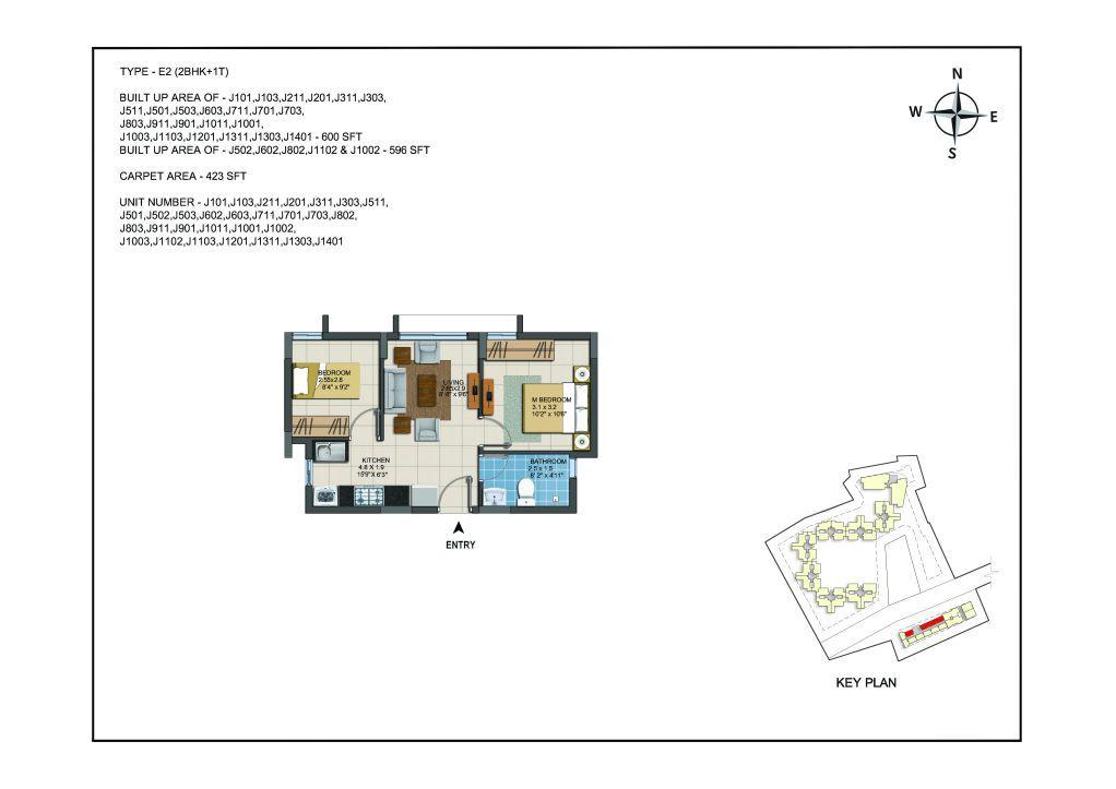 2 BHK Apartments Floor Plan (Unit No J101, J103, J211, J201, J311, J303, J511, J501, J502, J503, J602, J603, J711, J701, J703, J802, J803, J911, J901, J1011, J1001, J1002, J1003, J1102, J1103, J1201, J1311, J1303, J1401) - Casagrand ECR 14