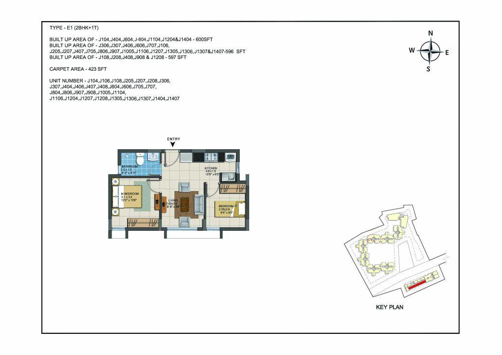 2 BHK Apartments Floor Plan (Unit No J104, J106, J108, J205, J207, J208, J306, J307, J404, J406, J407, J408, J604, J606, J705, J707, J804, J806, J907, J908, J1005, J1104, J1106, J1204, J1207, J1208, J1305, J1306, J1307, J1404, J1407) - Casagrand ECR 14