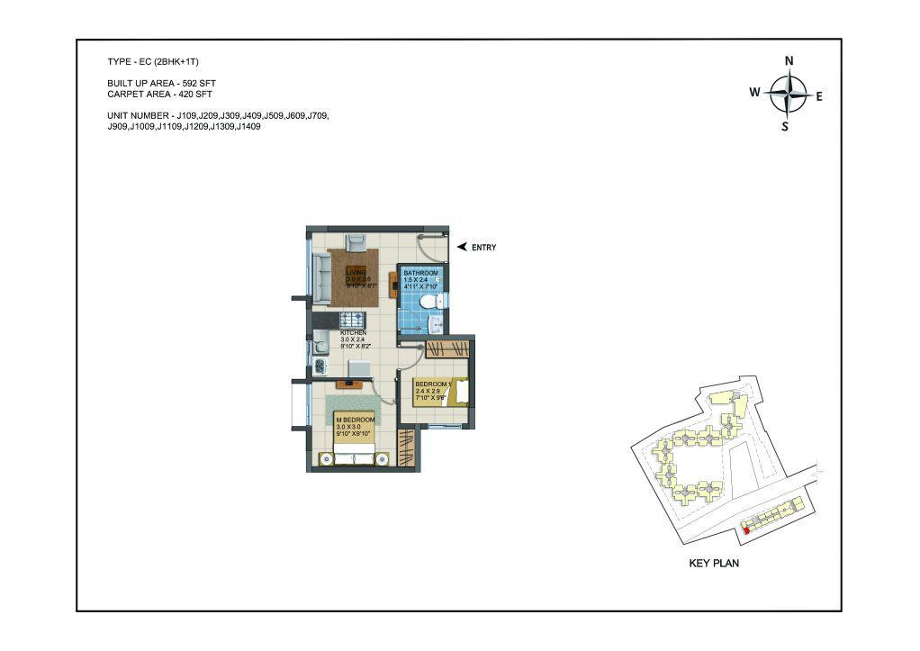 2 BHK Apartments Floor Plan (Unit No J109, J209, J309, J409, J509, J609, J709, J909, J1009, J1109, J1209, J1309, J1409) - Casagrand ECR 14