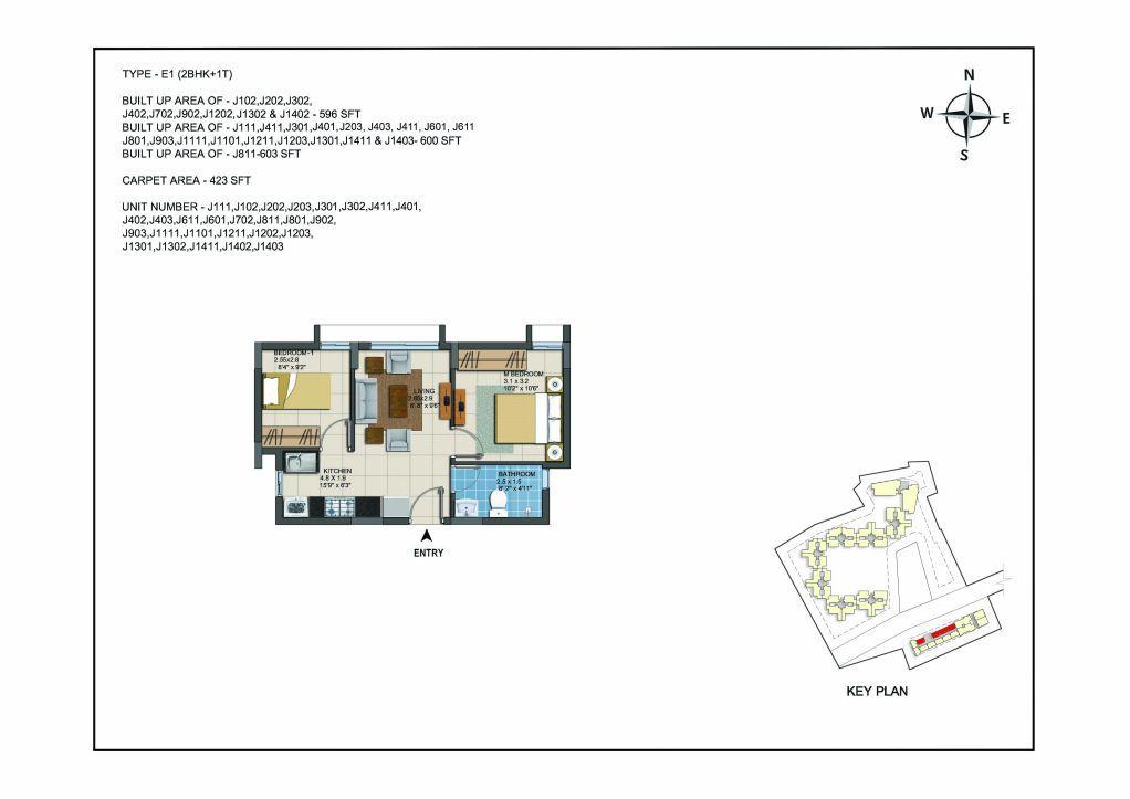 2 BHK Apartments Floor Plan (Unit No J111, J102, J202, J203, J301, J302, J411, J401, J402, J403, J611, J601, J702, J811, J801, J902, J903, J1111, J1101, J1211, J1202, J1203, J1301, J1302, J1411, J1402, J1403 ) - Casagrand ECR 14