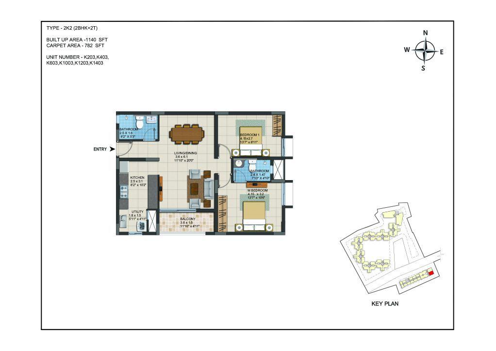 2 BHK Apartments Floor Plan (Unit No K203, K403, K603, K1003, K1203, K1403) - Casagrand ECR 14
