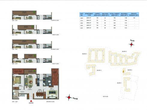 2 BHK Apartments Floor Plan (Unit No CG01, C101, C201, C301, C401) - Casagrand Utopia