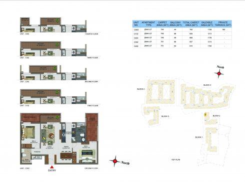 2 BHK Apartments Floor Plan (Unit No CG02, C102, C202, C302, C402) - Casagrand Utopia
