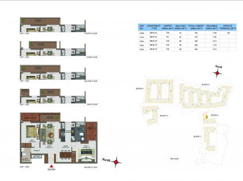 2 BHK Apartments Floor Plan (Unit No CG04, C104, C204, C304, C404) - Casagrand Utopia