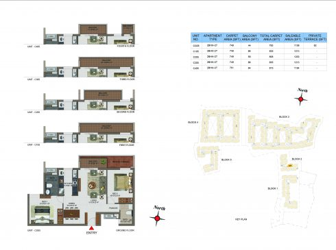 2 BHK Apartments Floor Plan (Unit No CG05, C105, C205, C305, C405) - Casagrand Utopia