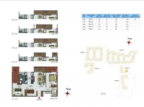 2 BHK Apartments Floor Plan (Unit No CG06, C106, C206, C306, C406) - Casagrand Utopia