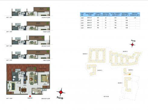 2 BHK Apartments Floor Plan (Unit No CG07, C107, C207, C307, C407) - Casagrand Utopia
