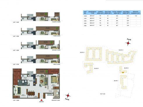 2 BHK Apartments Floor Plan (Unit No CG08, C108, C208, C308, C408) - Casagrand Utopia