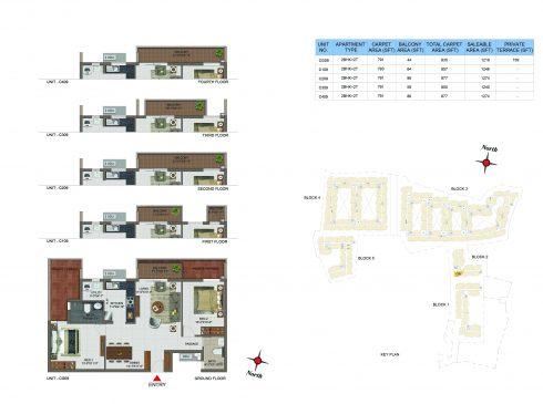 2 BHK Apartments Floor Plan (Unit No CG09, C109, C209, C309, C409) - Casagrand Utopia