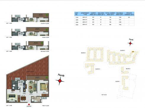 2 BHK Apartments Floor Plan (Unit No D108, D208, D308, D408) - Casagrand Utopia