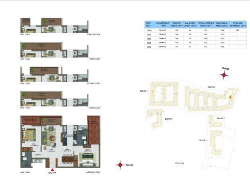 2 BHK Apartments Floor Plan (Unit No DG02, D102, D202, D302, D402) - Casagrand Utopia