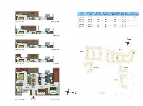 2 BHK Apartments Floor Plan (Unit No DG03, D103, D203, D303, D403, HG02, H102, H202, H302, H402) - Casagrand Utopia