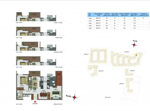 2 BHK Apartments Floor Plan (Unit No DG04, D104, D204, D304, D404) - Casagrand Utopia
