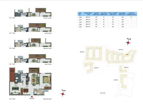 2 BHK Apartments Floor Plan (Unit No DG06, D106, D206, D306, D406) - Casagrand Utopia