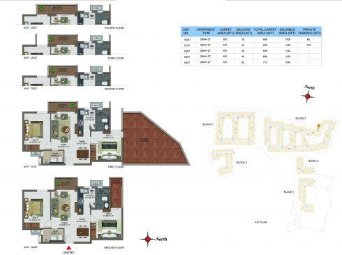 2 BHK Apartments Floor Plan (Unit No DG07, D107, D207, D307, D407) - Casagrand Utopia