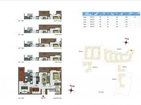2 BHK Apartments Floor Plan (Unit No DG09, D109, D209, D309, D409) - Casagrand Utopia