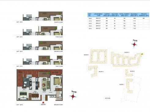 2 BHK Apartments Floor Plan (Unit No DG10, D110, D310, D410) - Casagrand Utopia