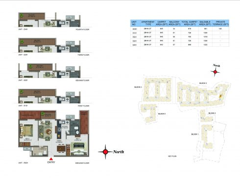 2 BHK Apartments Floor Plan (Unit No EG01, E101, E201, E301, E401) - Casagrand Utopia