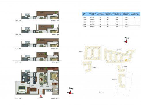 2 BHK Apartments Floor Plan (Unit No EG05, E105, E205, E305, E405) - Casagrand Utopia