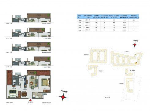 2 BHK Apartments Floor Plan (Unit No EG06, E106, E206, E306, E406) - Casagrand Utopia