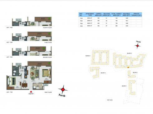 2 BHK Apartments Floor Plan (Unit No F105, F205, F305, F405) - Casagrand Utopia