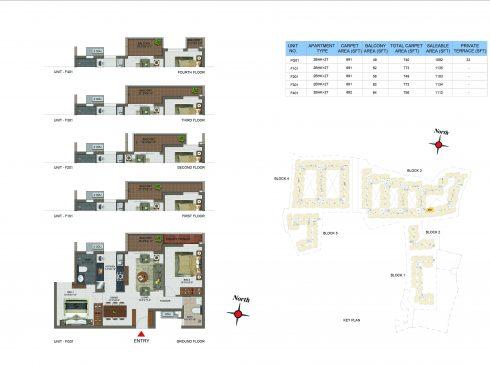 2 BHK Apartments Floor Plan (Unit No FG01, F101, F201, F301, F401) - Casagrand Utopia