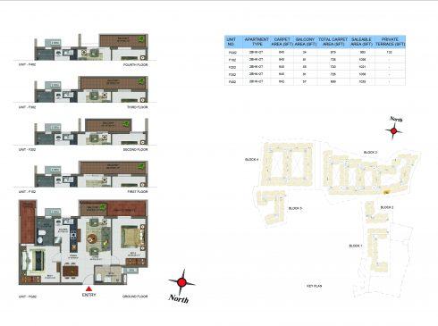 2 BHK Apartments Floor Plan (Unit No FG02, F102, F202, F302, F402) - Casagrand Utopia