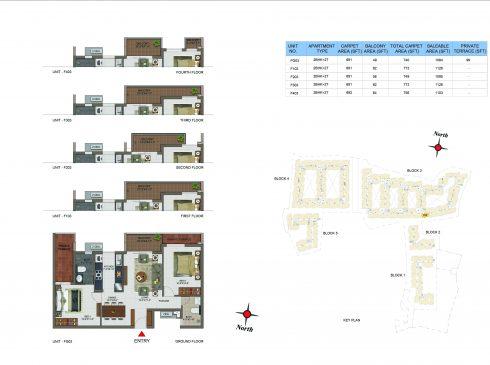 2 BHK Apartments Floor Plan (Unit No FG03, F103, F203, F303, F403) - Casagrand Utopia