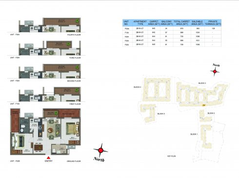 2 BHK Apartments Floor Plan (Unit No FG04, F104, F204, F304, F404) - Casagrand Utopia