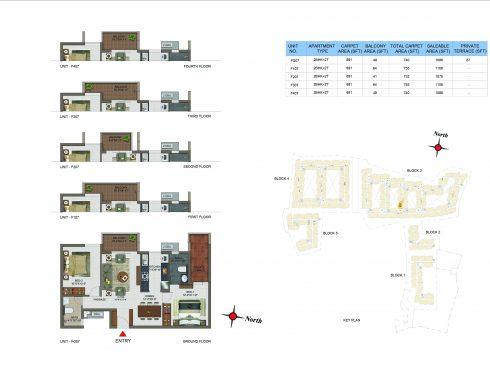 2 BHK Apartments Floor Plan (Unit No FG07, F107, F207, F307, F407) - Casagrand Utopia