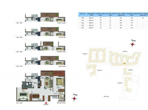 2 BHK Apartments Floor Plan (Unit No FG09, F109, F209, F309, F409) - Casagrand Utopia