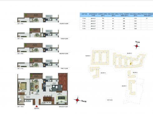 2 BHK Apartments Floor Plan (Unit No FG10, F110, F210, F310, F410) - Casagrand Utopia