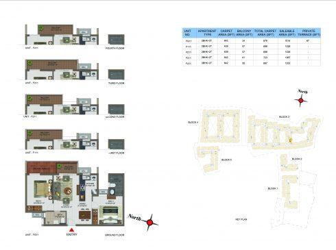 2 BHK Apartments Floor Plan (Unit No FG11, F111, F211, F311, F411) - Casagrand Utopia