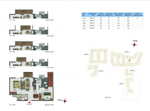 2 BHK Apartments Floor Plan (Unit No GG01, G101, G201, G301, G401) - Casagrand Utopia