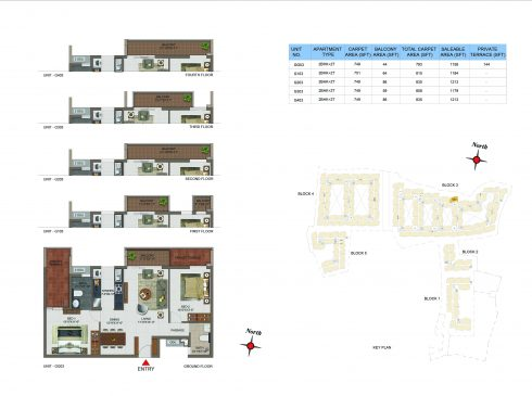 2 BHK Apartments Floor Plan (Unit No GG03, G103, G203, G303, G403) - Casagrand Utopia