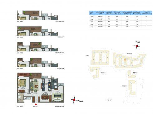 2 BHK Apartments Floor Plan (Unit No HG03, H103, H203, H303, H403) - Casagrand Utopia