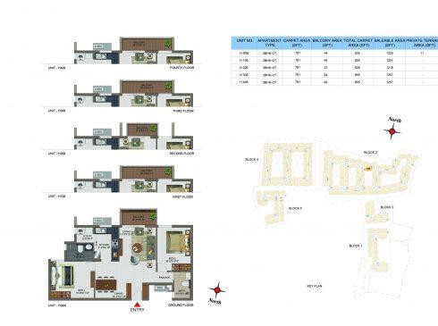 2 BHK Apartments Floor Plan (Unit No HG06, H106, H206, H306, H406) - Casagrand Utopia