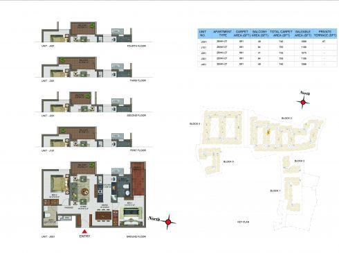 2 BHK Apartments Floor Plan (Unit No JG01, J101, J201, J301, J401) - Casagrand Utopia