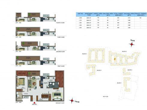 2 BHK Apartments Floor Plan (Unit No JG03, J103, J203, J303, J403) - Casagrand Utopia