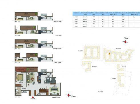 2 BHK Apartments Floor Plan (Unit No JG04, J104, J204, J304, J404) - Casagrand Utopia