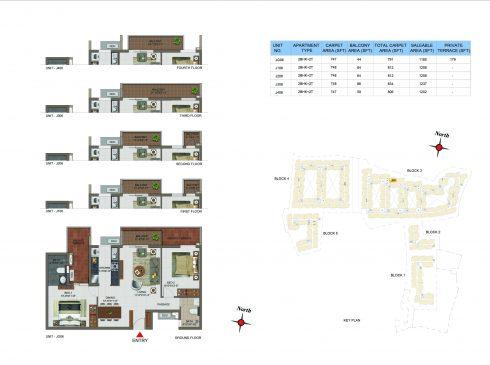 2 BHK Apartments Floor Plan (Unit No JG06, J106, J206, J306, J406) - Casagrand Utopia