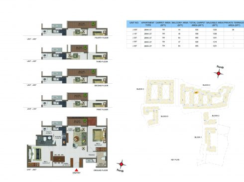 2 BHK Apartments Floor Plan (Unit No JG07, J107, J207, J307, J407) - Casagrand Utopia
